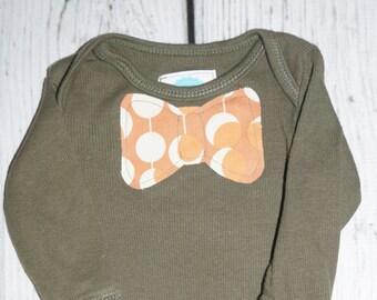 3M Ribbed Olive Green Bodysuit: Orange Spots