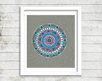 Colorful Mandala Art, Original Drawing