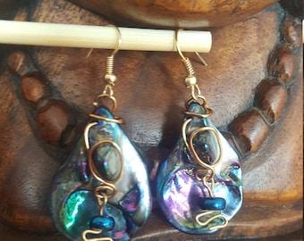 Iridescent Blue Shell Earrings Gold
