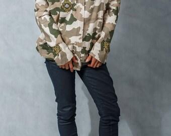 Bawełniana kurtka MORO z naszywkami - ocieplana