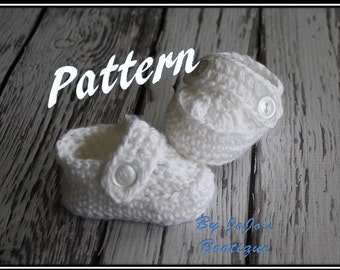 PDF Pattern - White Baby Shoes, Baby Blessing Shoes, Baptism Shoes, Baby Christening Shoes Pattern, Baby Booties, - by JoJo's Bootique