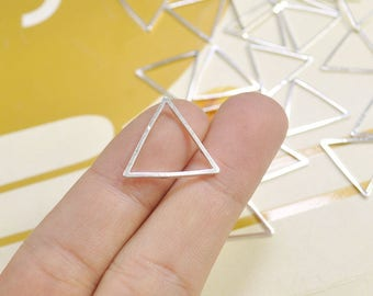 Triangle Charm, 25pcs Silver Color Brass Triangle Link Pendants,Triangle Connectors(20mm) - VC3679
