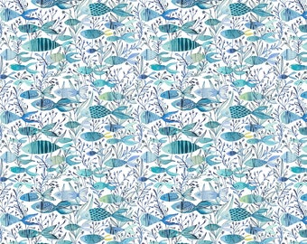 Fish Fabric, Quilting Fabric, Cotton Fabric By The Yard, Fish in the Ocean, Aqua Fabric, DIY Baby Gifts, Sewing Project, Clothing Fabric