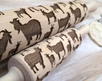 Rolling Pin Wooden Laser Cut Stylish Goats, Nanny-goats Pattern Embossing