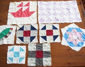 8 Vintage Feedsack Patchwork Quilt Squares 1930s Hand & Machine Pieced
