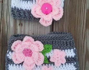 Crochet hat and matching diaper cover
