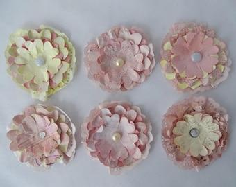 Paper flowers, Paper flower embellishments, Flower embellishments, Paper craft, Shabby chic, Shabby chic flowers, Scrapbook flowers, Flowers
