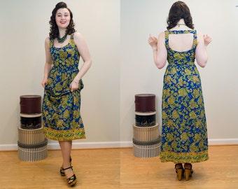 1960s Maxi Dress - Blue and Green Dancing Paisley