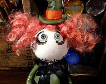 OOAk Grimmy the Mad Hatter art doll made to order