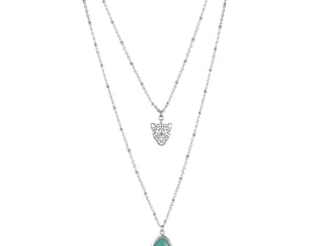 Double row silver necklace with leopard pendant