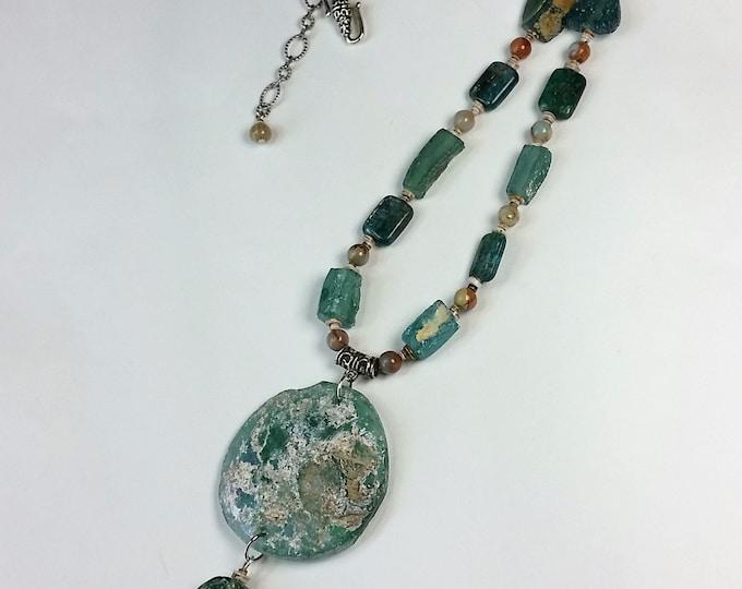 Roman Glass Necklace Set - Timeless Antique Glass Jewelry - Blue Green Jewelry - Glass and Stone Jewelry - Adjustable Jewelry