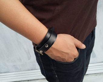 black leather bracelet for men cuff leather wristband Rocker style handstitched mens gift