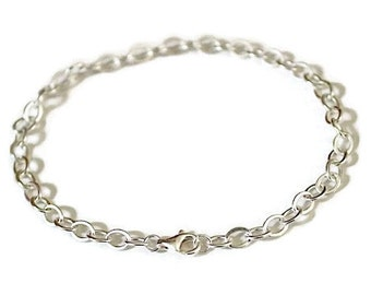 Link Chain Charm Bracelet 925 Sterling Silver - 7.48 or 8.00 inch - CHBRCBL080-19-21CM