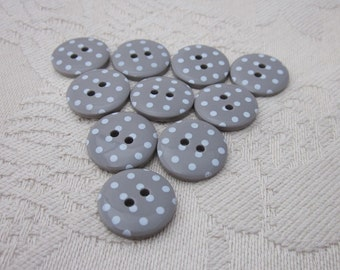 10 Small Mushroom Polkadot Buttons
