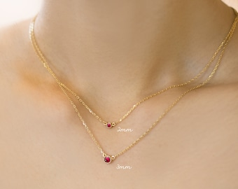 14k gold ruby necklace genuine ruby floating necklace tiny 14k yellow rose white solid gold tiny ruby necklace tiny ruby necklace 2mm small ruby necklace round genuine ruby ruby jewelry minimal mozeypictures Gallery