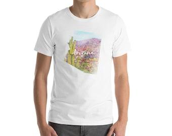 Arizona - Fine Art  Water Color Iconic Landscape State Map  Short-Sleeve Unisex T-Shirt