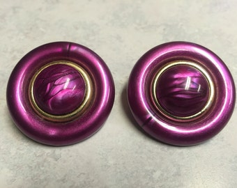 Vintage Large Round Dark Pink and Gold Clip-On Earrings
