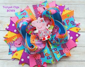 Peppa Pig Hair Bow Peppa Pig Birthday Party Peppa Pig Boutique Bow Peppa Pig Boutique Bow Peppa Pig Outfit Peppa pig Hair Clip
