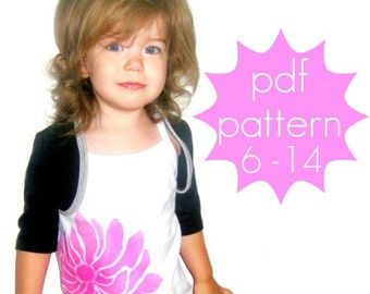 Simple Shrug Bolero PDF Sewing Pattern - short, petal, 3/4, long sleeve options - doll (preemie) and nb - 5t or 6 - 14