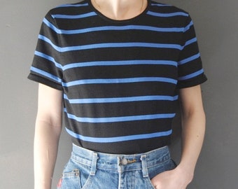 90s striped top -- vintage boxy knit t-shirt, black and blue stripes, knit top, crew neck, grunge, striped sweater, 90s clothing, medium