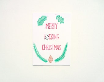 Merry F-cking Christmas Postcard, Rude Christmas Card, Funny Profanity, Passive Aggressive Card, Mature Swearing Greeting Card