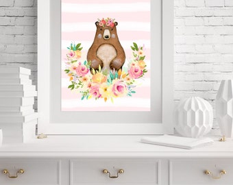 "Woodland Nursery Wall Art- 8""x 10""- Nursery Bear Wall Art- Print"