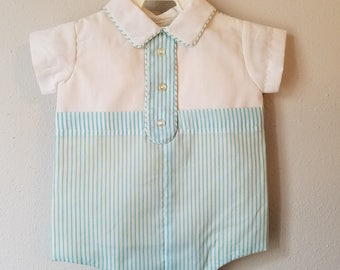 Vintage Baby Boy One-Piece Romper in Mint Green Stripes by C.I. Castro - Size 0-3 months -New, never worn- Easter Outfit