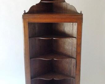 SALE   Antique Welsh Oak Corner Cupboard, Shelf