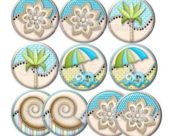 Set of 10 cabochons 25mm glass, beach vacation, ref ZC131