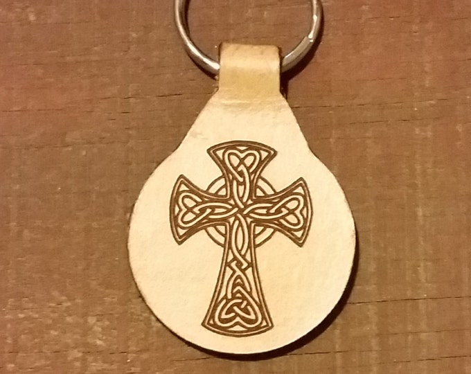 Laser engraved Cross on a Leather KeyFob