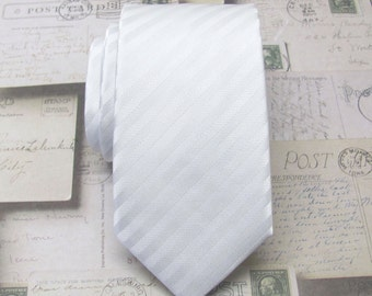 Mens Tie. White Stripes Men's Skinny Necktie