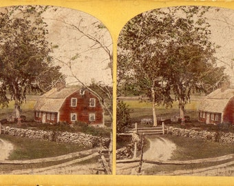 New England Old Red Farm House Woman Standing by Tree Tinted Stereoview Photo