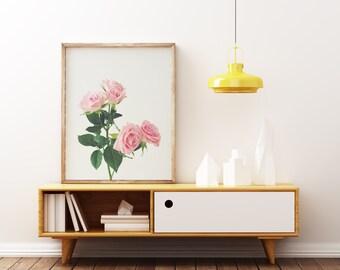 Rose Print, Pink Rose Art, Minimal Floral Decor, Bedroom Art - Spring Roses