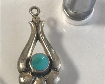 Turquoise & Silver Pendant- Southwestern Style