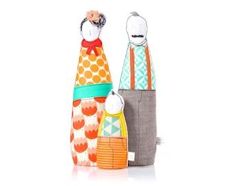 Hipster Family , Family Portrait dolls , Parents & boy ,  Playset eco dolls , soft figurine , Selfie doll , Textile doll , livingRoom Decor