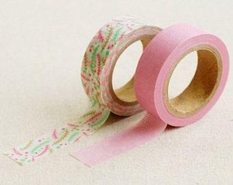 2 Set - Wonder Pink Line Leaf Adhesive Masking Tapes (0.6in)