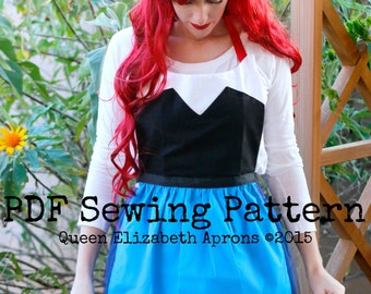 Land ARIEL The Little Mermaid Disney Princess inspired Costume Apron PDF Sewing Pattern. Girls size 9-12 and Teens/ Women 0-12 Kiss the girl & Land ARIEL The LITTLE MERMAID Disney princess inspired Costume