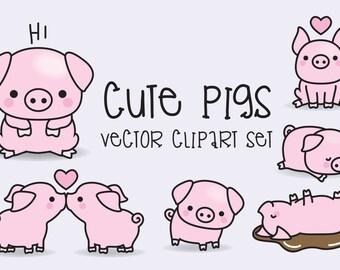 Premium Vector Clipart - Kawaii Pigs - Cute Pigs Clipart Set - High Quality Vectors - Instant Download - Kawaii Clipart