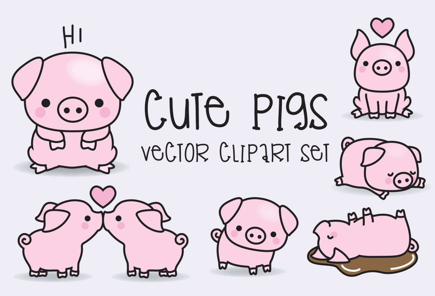 Premium vector clipart kawaii pigs cute pigs clipart set zoom voltagebd Image collections