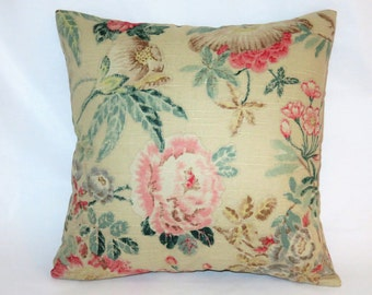 "Beige Pink Teal Floral Pillow Cover, 17"" Square Cotton, Yellow Green Brown, Vintage Look Flowers, Zipper Cover Only, Ready to Ship"