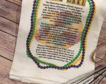 History of King Cake Flour Sack Towel