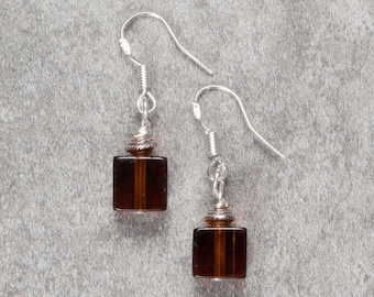 Brown Glass Cube Drop Earrings (005)