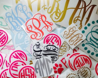 Monogram Decal Sticker | Many sizes, colors, and styles!