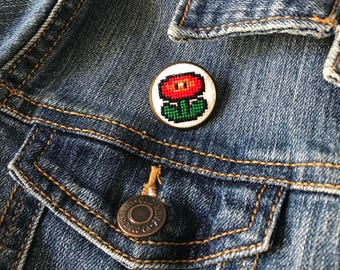 Fireflower Mario Bros. Cross Stitch Pin