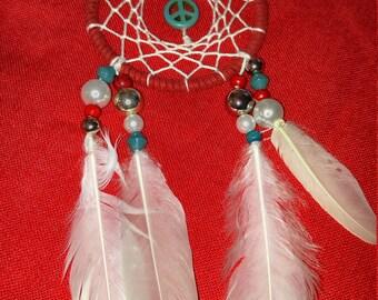 Red, white, blue peace symbol dream catcher