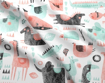 Mod Scandi Animals Fabric - Coral Mint Animal Party By Wideeyedtree - Whimsical Animal Nursery Cotton Fabric By The Yard With Spoonflower