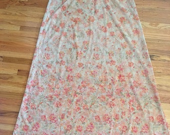 1970's sheer floral nightgown ~ vintage lingerie ~ pink nightie larger size