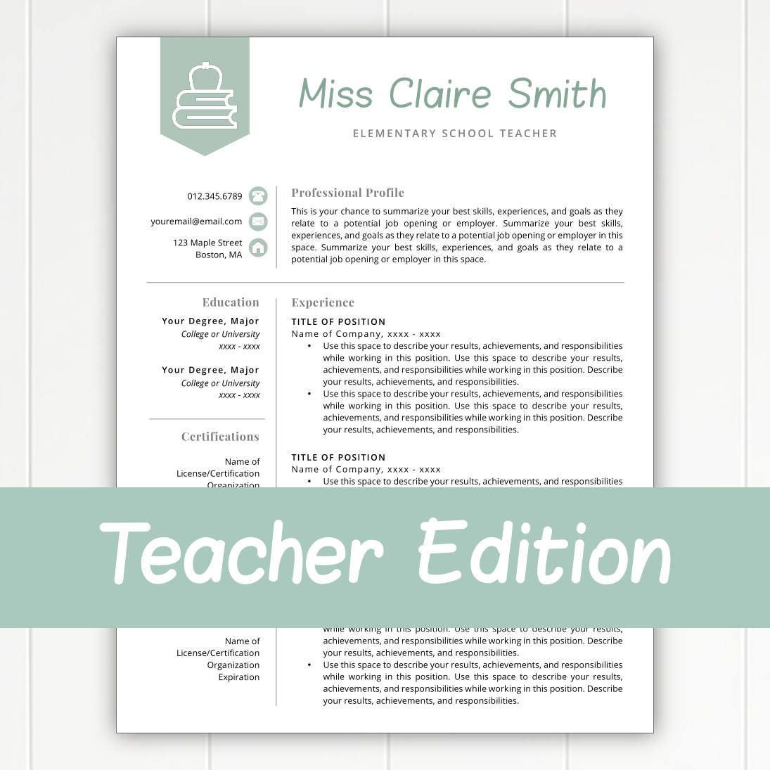 Teacher Resume Template for Word & Pages Teacher Template