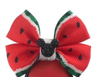 """Watermelon Magic Band Bow or Apple Watch Bow, 2"""" Mini Hair Bow, Planner Clip Bow - Park Snacks Collection"""