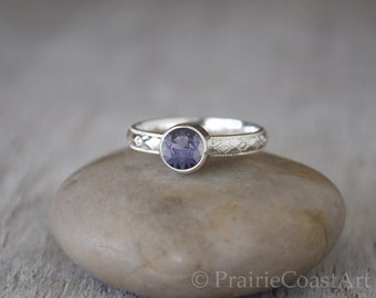 Alexandrite Ring in Sterling Silver - Handcrafted Sterling Silver Alexandrite Ring -  Alexandrite stacking Ring - June Birthstone Ring